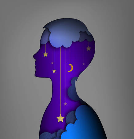 Concept de rêveur, image de couches, silhouette de jeune garçon avec ciel nocturne à l'intérieur, idée de rêve de nuit, image vectorielle