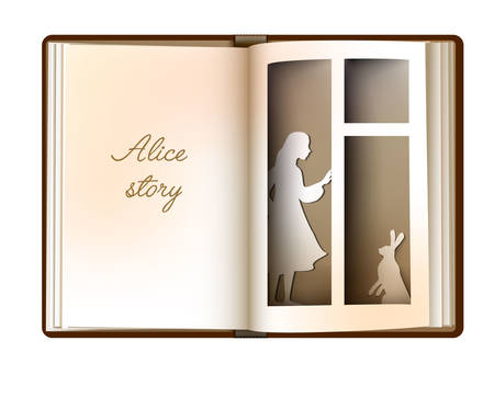 Alice story idea, reading and imagination concept, vintage empty book page looks like window with girl silhouette and rabbit, 向量圖像
