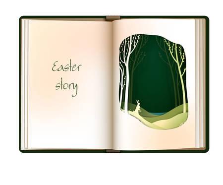 Ostergeschichtenkonzept, leere Buchseite der Weinlese sieht aus wie Wald mit Osterhasen, Osterkartendesign, Vektorgrafik