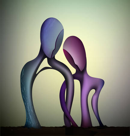 marriage concept, togetherness concept, blue man and pink woman shapes Intertwined, together forever, couple in love abstract surrealism shapes, vector Vetores