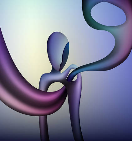 colors and shape of emotions concept, human feels happiness, abstract man shape with liquid shape inside, surrealism vector Stock Illustratie