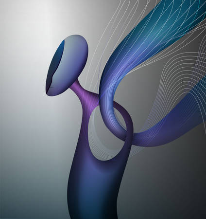 colors and shape of emotions concept, human feels happiness, abstract angel shape with, surrealism vector