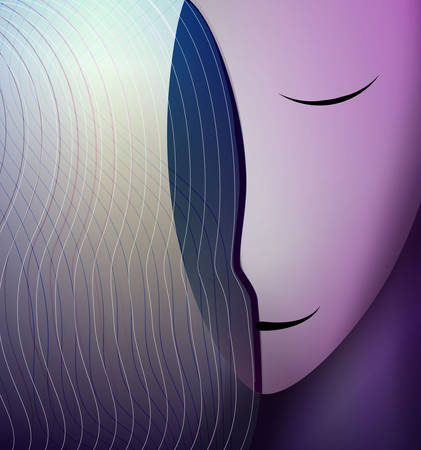 colors and shape of emotions concept, human feels happiness, abstract woman head smiling, vector
