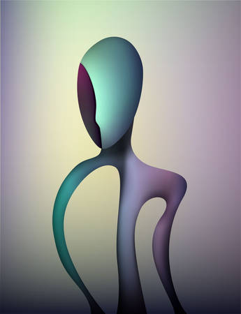 colors and shape of emotions concept, human feels happiness, abstract man shape, surrealism vector 矢量图片