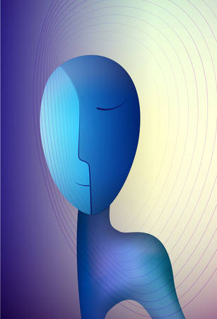 mental energy concept, abstract man shape, surrealism vector