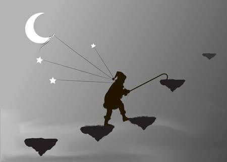 dwarf captures the moon and stars, Standard-Bild - 123509277