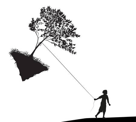 boy holding and pulling the tree on flying rock, take last tree, mankind and environment, shadows