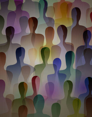 many people, crowd concept, color of inner world of each person, vector Illustration