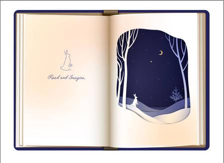 Lese- und Vorstellungskonzept, wenn Sie das Buch lesen, das Sie sich vorstellen, Buchgeschichtenkonzept, Vintage-Buchseite sieht aus wie Nachtwinterwald mit Kaninchen, Buchdesign,