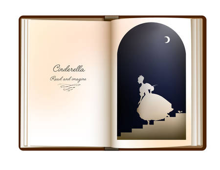Cinderalla story idea, reading and imagination concept, vintage empty book page looks like arch window with cindarella silhouette,