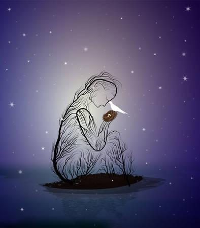 Baumsilhouette wie eine Frau, die nachts ein Nest mit weißem Vogel hält, Kampffeenkonzept, Vektor Vektorgrafik