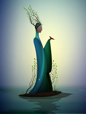 sping fairy, spring fantasy icon fantastic spring, silhouette of woman withtree branches on the head and holding the bird, vector