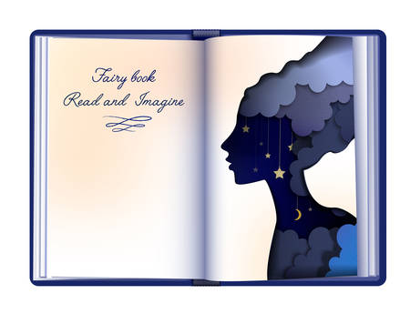 Fairytale book concept, reading and imagination concept, vintage empty book page looks like paper fairy woman silhouette, vector Vector Illustration