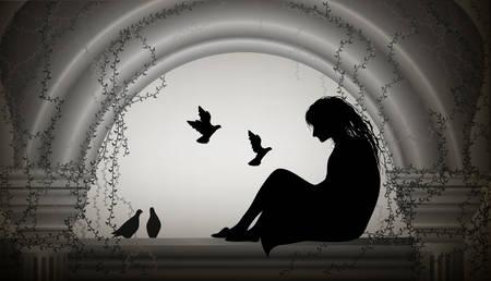 niña sentada en la ventana y bandada de palomas vuelan hacia ella, niña sentada en el antiguo ático con columna y pensar en algo, niña de cuento de hadas, escena,