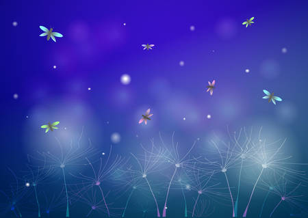fairy summer night with fireflies, glade silhouette at night, fireflies in the summer dream background,