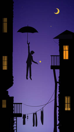 boy hanging the moon, dreamer in the city, fairytale scene in the city