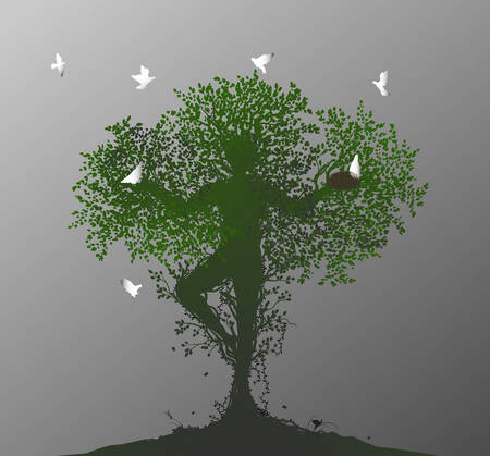 tree soul, spirit of the forest, birds return to the alive tree, Ilustração