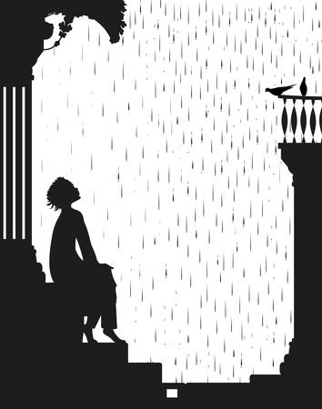 dream under the rain, boy is sitting on the stairs and looking at the rain and pigeons, shadows, black and white story,