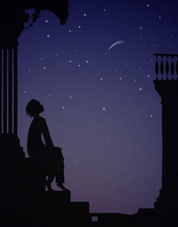night dreamer, boy sits near the city houses and look at the stars, dreams Ilustrace