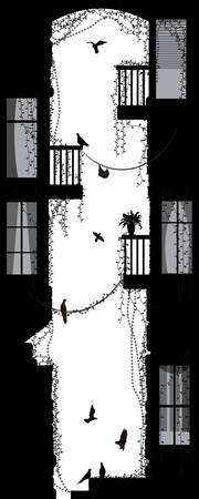 pigeons in the old city yard, black and white memories, Ilustração