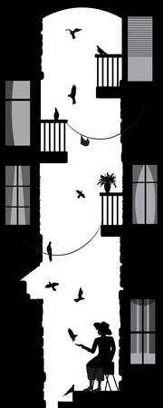 birdman, boy in the city with many pigeon, old city yard scene, black and white memories, Illustration