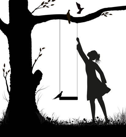 girl and swing silhouette, childhood memories in summer day, pigeons on the swing, black and white, Ilustração