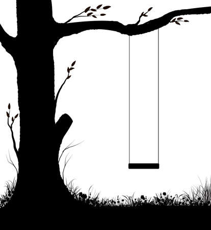 swing on tree, childhood memories in summer day, piece of childhood, , black and white,