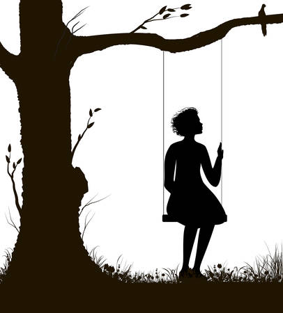 girl on the swing silhouette, childhood memories in summer day, black and white,