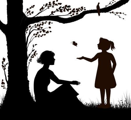 silueta de madre e hija, la mujer joven está sentada debajo del árbol y la niña está tratando de atrapar mariposas, escena familiar en un caluroso día de verano, recuerdos de verano, blanco y negro, Ilustración de vector