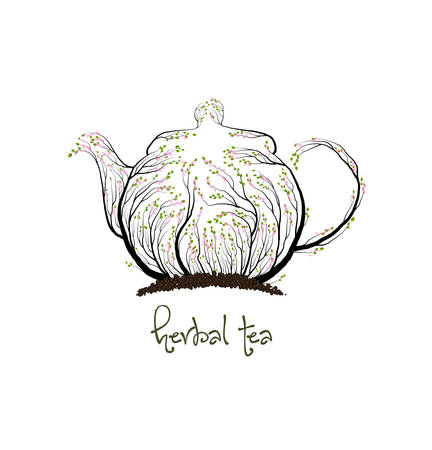 ecological product concept, teapot looks like tree on white background, herbal tea concept, tea eco production, vector