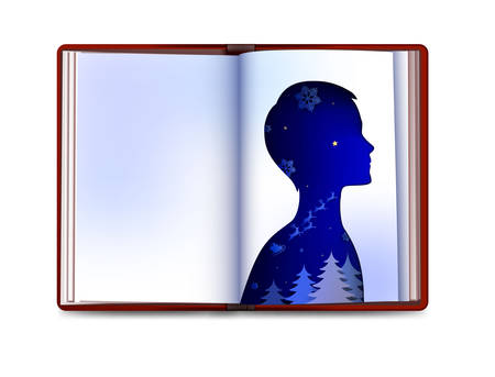 Christmas book concept, fairy childhood, Christmas inside the kid soul, kids dream about santa, empty book page looks like paper boy silhouette,