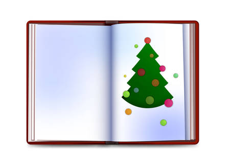 Christmas card looks like a book with christmas tree inside on white background, write your christmas story concept, vector