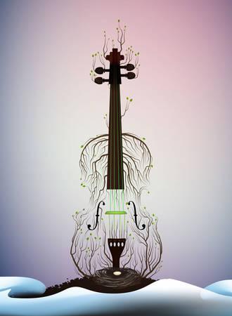 tree silhouette like violine, spring melody, spring music idea, vector Фото со стока - 133410971