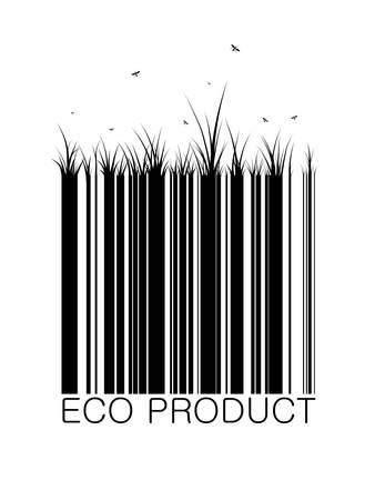 eco bar-code with grass and butterfly eco product concept, vector 스톡 콘텐츠 - 133410972