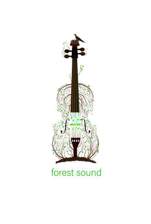 tree silhouette like violine growing on soil and bird with nest, forest sound concept, spring music idea, vector