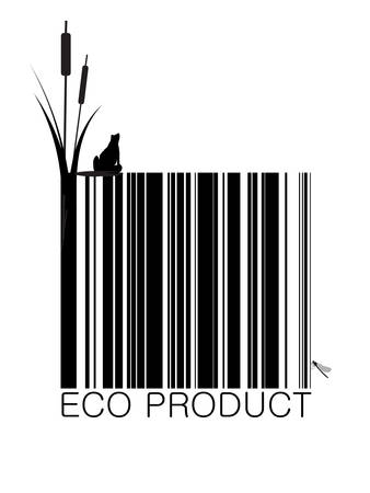 eco bar-code with plant frog and dragon fly, eco product concept, vector Ilustração