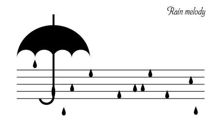 rain melody concept, black umbrella and drops look like music notes, vector Ilustração
