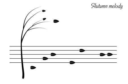 Autumn melody concept, autumn tree and falling leaves look like music notes,