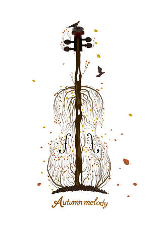 Autumn tree silhouette looks like violin growing on soil and birds flying away, Autumn melody concept, Autumn music idea,