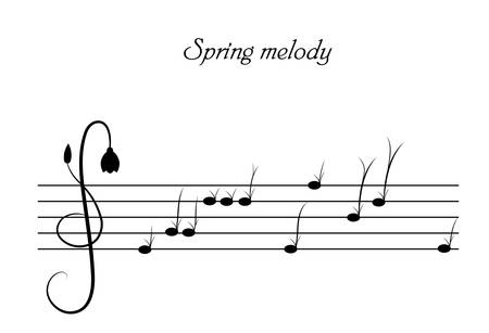 spring melody concept, grass and flower sprouts look like music notes, spring music creative idea, black and white