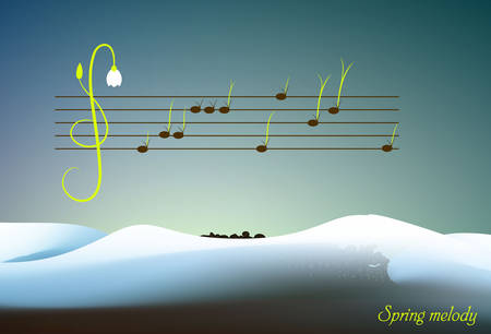 spring melody concept, grass and flower sprouts look like music notes, spring music creative idea, 일러스트