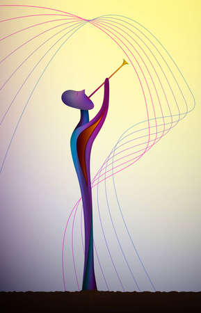 shape of music, musician in contemporary art, man and music surrealism shapes, abstract