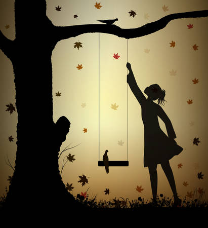 girl and swing silhouette and falling autumn leaves, childhood memories in summer day, Autumn swing,