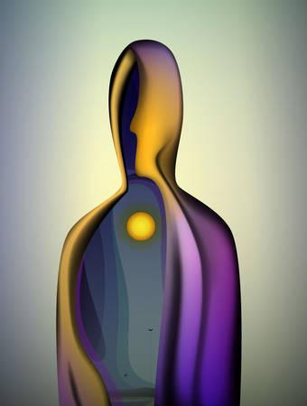sol interior dentro del alma, forma abstracta del cuerpo humano con sol en el interior, mundo interior del ser humano, vector
