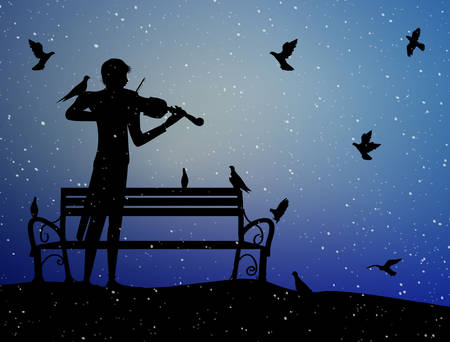violinist plays under the snow in the park with pigeons, violin dreamer, first snow nostalgic memories, silhouette,