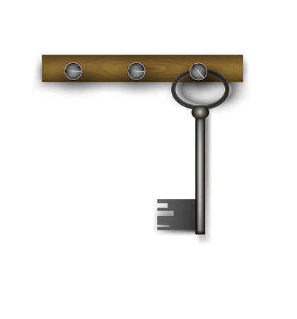 key hanging on the wooden plank on the white background, vector