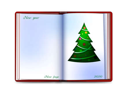 Christmas card looks like a book with christmas tree inside on white background, new year new page concept,