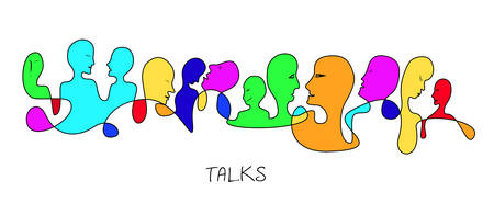 people talks concept, crowd of vivid colored people connected with one line, communication creative contemporary idea,