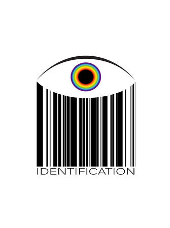 identification concept, eye in the barcode, idea of the man checking , customer identification, vector
