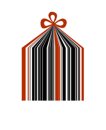 holiday sale bar code looks like present on the white background,